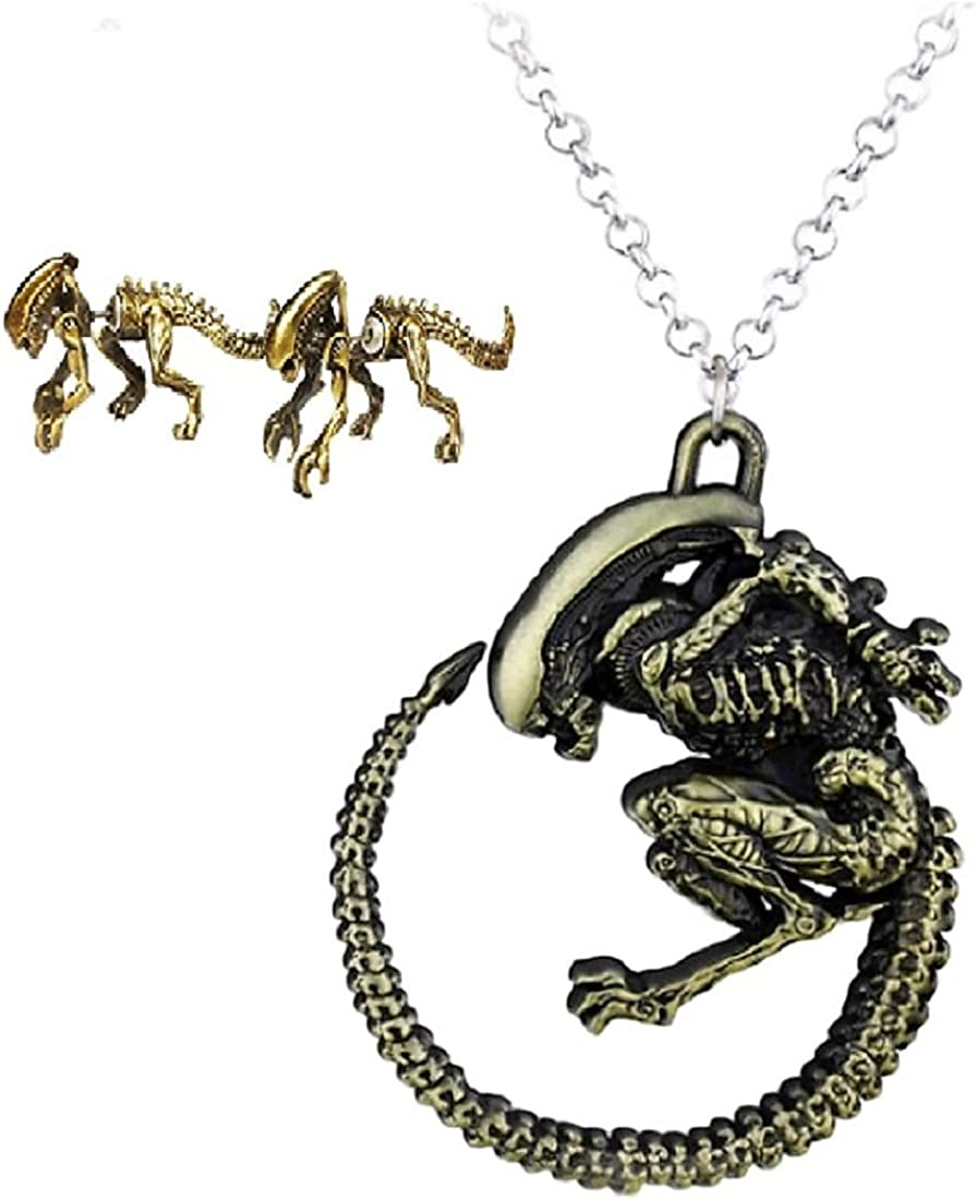 Alien vs Predator Movie Xenomorph Front and Back Metal Stud Earrings Silvertone