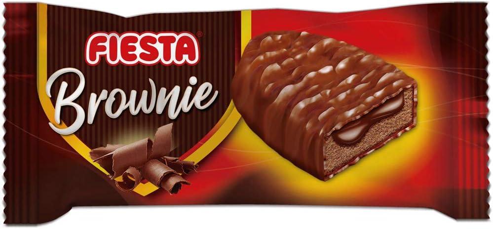FIESTA Brownies Bizcocho recubierto de chocolate con leche y relleno de crema de cacao - Caja de 24 unidades: Amazon.es: Alimentación y bebidas