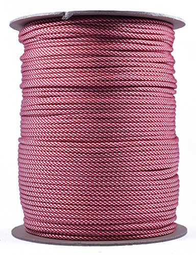 (Bored Paracord - 1', 10', 25', 50', 100' Hanks & 250', 1000' Spools of Parachute 550 Cord Type III 7 Strand Paracord Well Over 300 Colors - Candy Cane - 1000 Foot Spool)