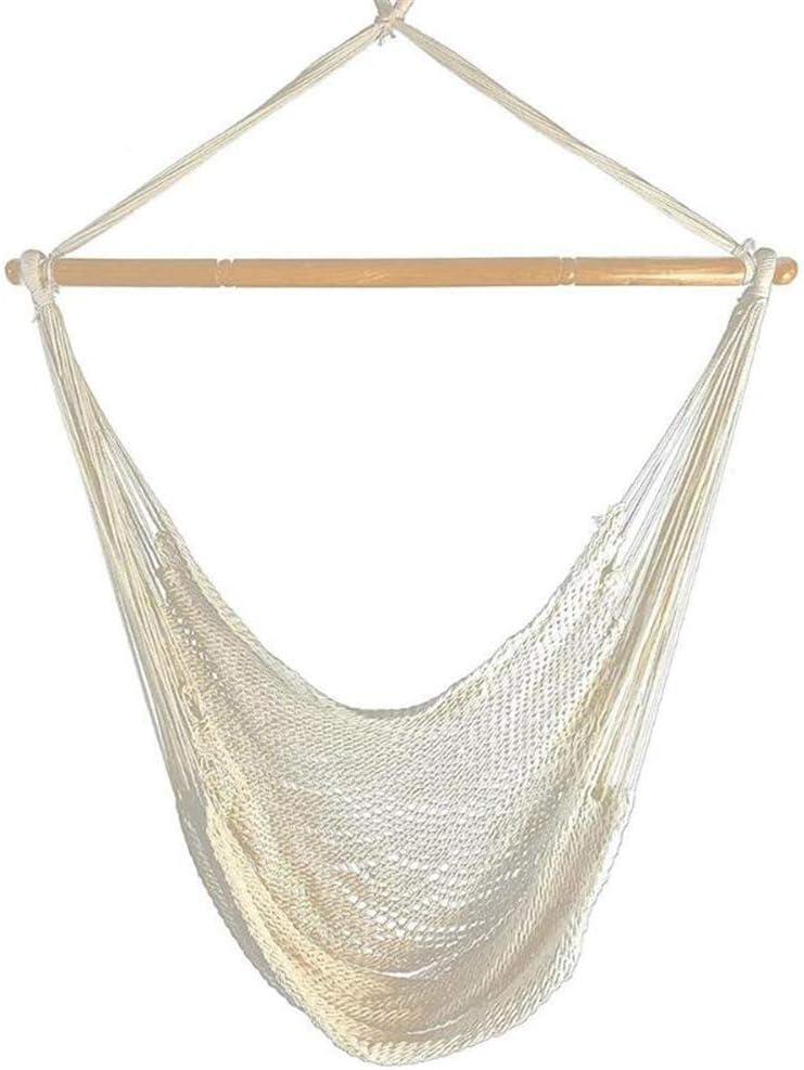 Silla de hamaca de cuerda de algodón grande, silla colgante portátil interior hamaca exterior silla de cama colgante romántica perezoso colgante