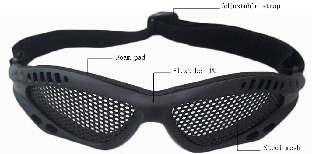 Alexsport Maille m/étallique Lunettes anti brouillard Lunettes objectif en maille m/étallique pour airsoft Paintball tactique de prise de vue