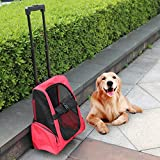 Peach Tree Pet Rolling Carrier Backpack Airline Approved Dog Cat Wheel Around Luggage Bag, Red For Sale