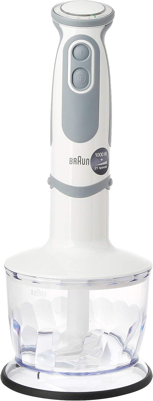 Braun Minipimer 5237WH - Batidora de mano, 1000 W, 21 velocidades y  turbo, anti-salpicaduras, Powerbell Plus, 4 accesorios (varillas, pasapuré, picadora 500 ml, vaso medidor 600ml)