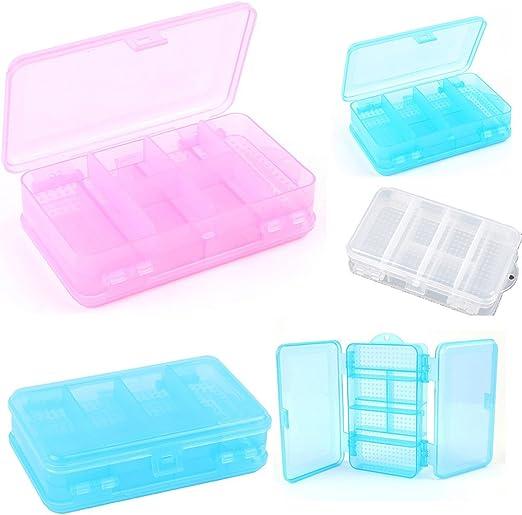 Caja de plástico transparente para guardar fotos, caja de almacenamiento para material escolar, caja de lápices de plástico resistente, estuche pequeño de plástico, caja de almacenamiento pequeña: Amazon.es: Jardín