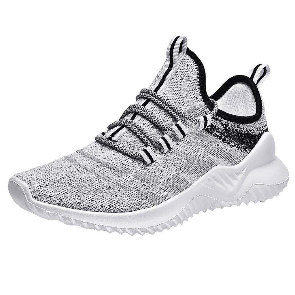 Men's Shock Absorbing Sports Shoes Summer Non-Slip Flying Woven Mesh Breathable Slip-on Running Sneakers