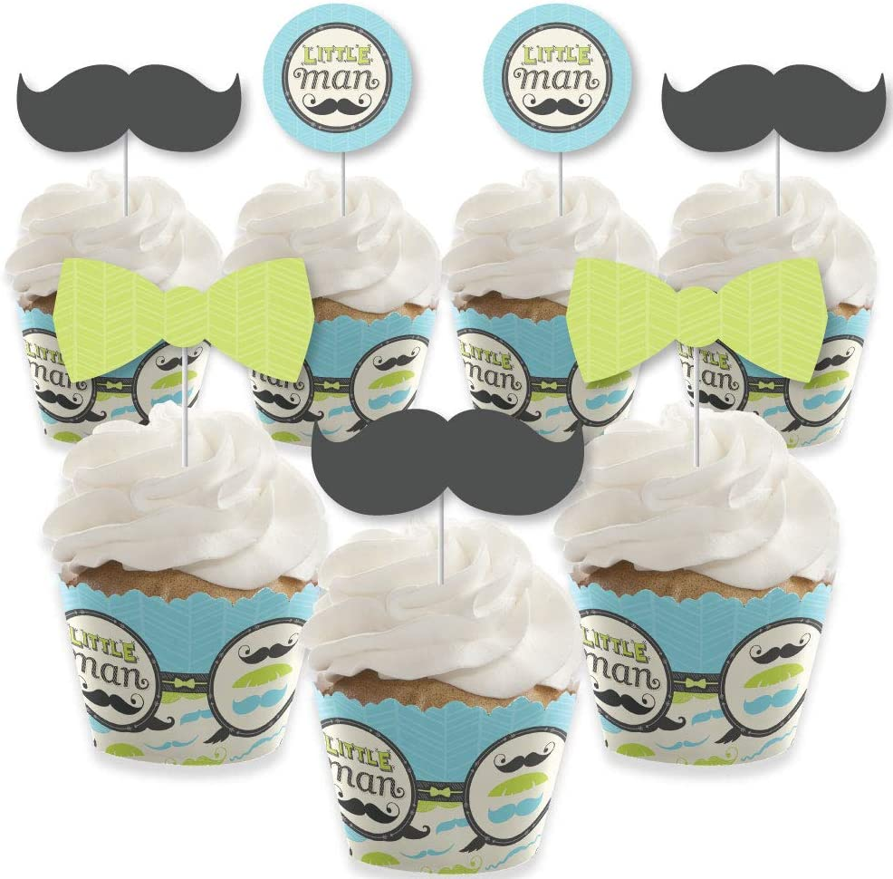 Dashing Little Man Mustache Party - Cupcake Decoration - Baby Shower or Birthday Party Cupcake Wrappers and Treat Picks Kit - Set of 24