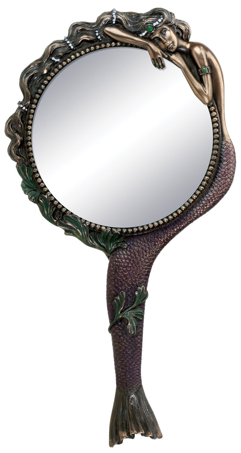 gold hand held mirror. art nouveau collectible mermaid hand mirror nymph decoration gold held i