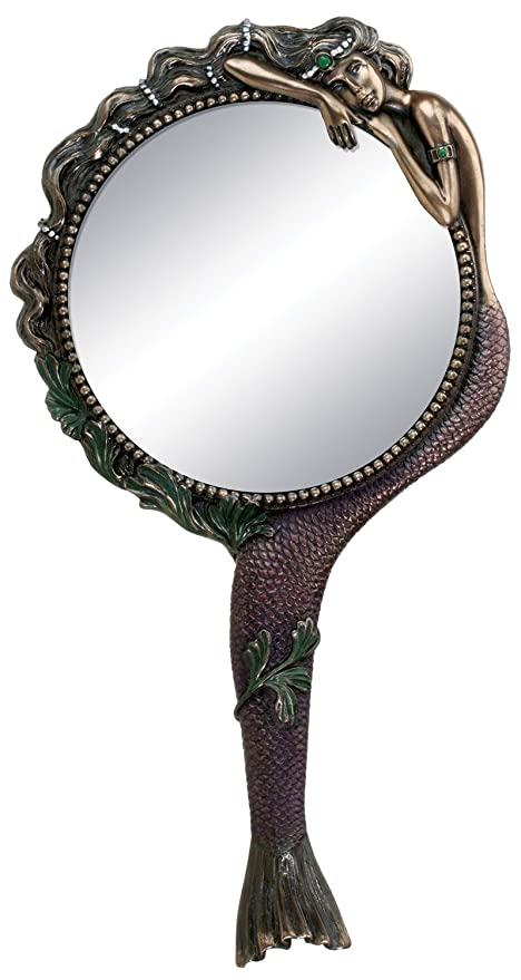 hand mirror. Beautiful Hand Art Nouveau Collectible Mermaid Hand Mirror Nymph Decoration Inside S