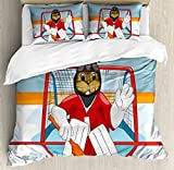 Hockey Queen Size Duvet Cover Set by Ambesonne, Cartoon Style Beaver Plays as a Goalkeeper Fun Activity for Kids Theme Animal Mascot, Decorative 3 Piece Bedding Set with 2 Pillow Shams, Multicolor