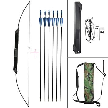 ZSHJG Archery Recurve Bow and Arrow Set Outdoor Straight BowTakedown Recurve Bow 35lbs-40lbs Archery Training Longbow with 6pcs Fiberglass Arrows