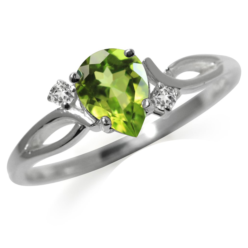 1.21ct. Natural Peridot & White Topaz 925 Sterling Silver Engagement Ring Size 11
