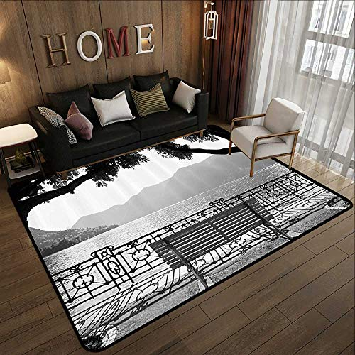 All Weather mats,Grey,Romantic Scenery with a Bench by The Lake Outdoors Trees Empty Park View Mountain Range,Grey 59