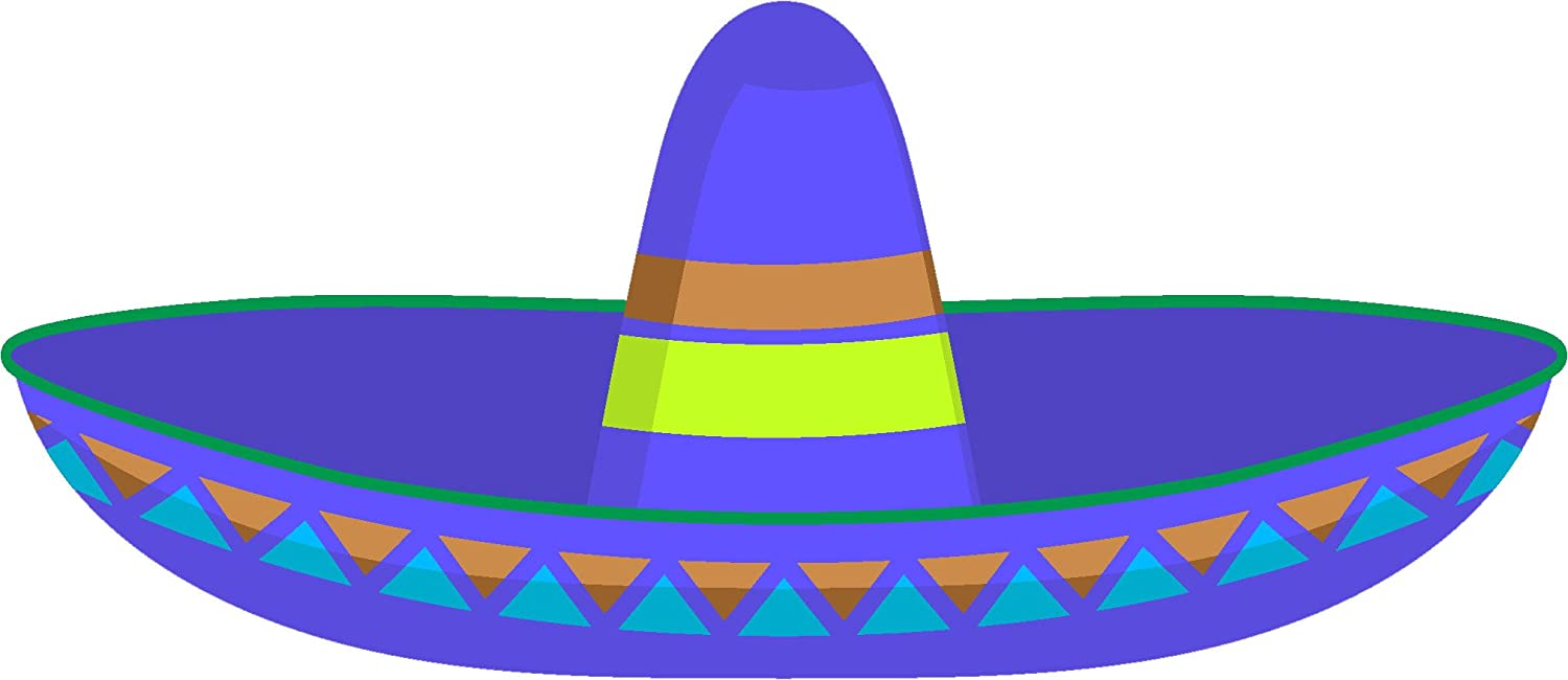 Amazon com simple colorful mexican sombrero cartoon vinyl sticker 2 wide blue sombrero automotive