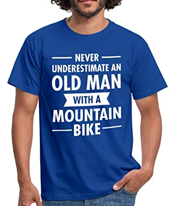 73df0cc8bbd Spreadshirt Never Underestimate Old Man with A Mountain Bike Men s T-Shirt