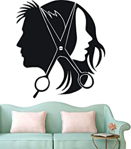Hair Salon Barber Shop Wall Decal Art Vinyl Sticker Wall Or Window Decor DIY Hair Beauty Salon Wall Sticker Door Decal NY-353 (Black, 57x65cm)