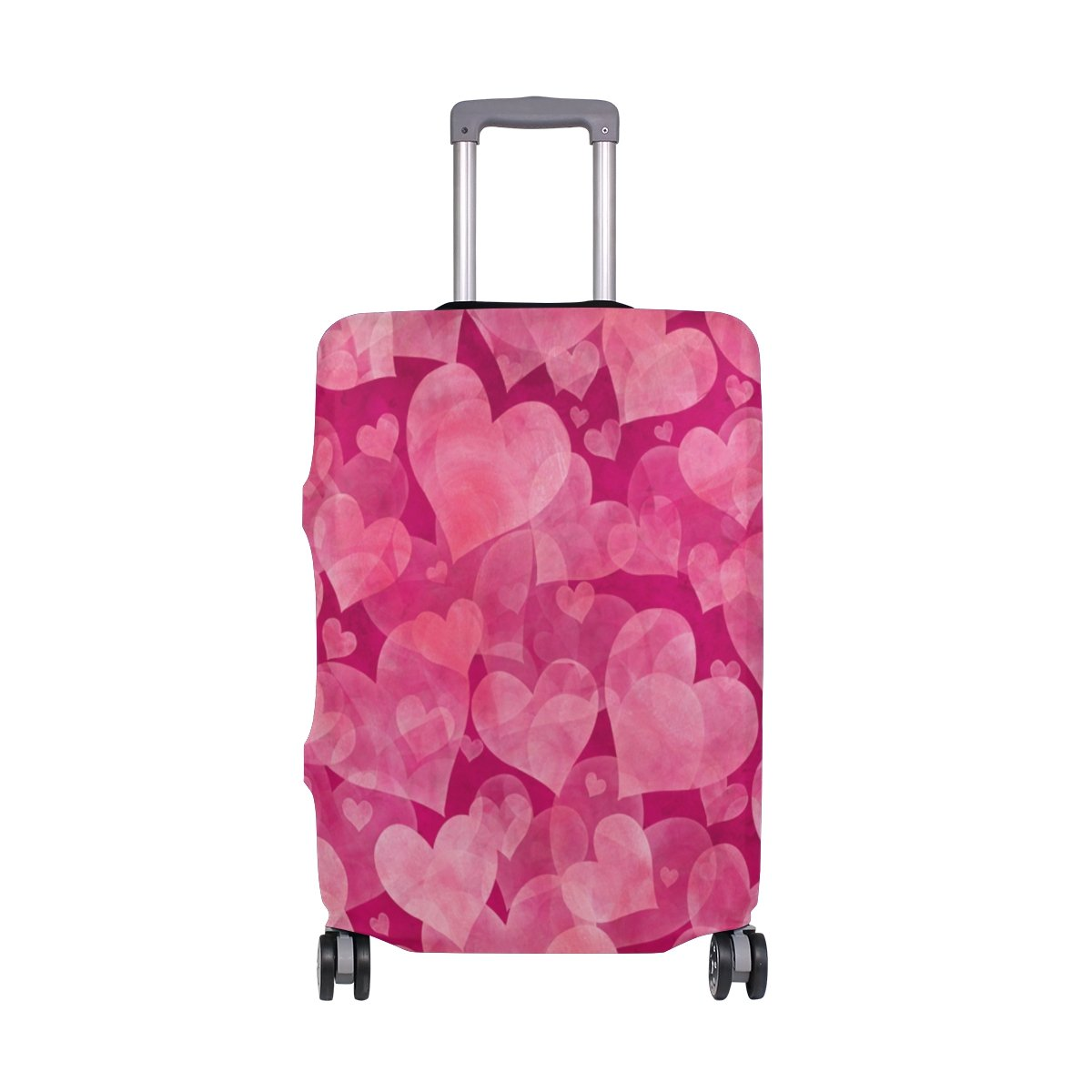 ALAZA Hearts Valentine's Day Wedding Luggage Cover Fits 18-22 Inch Suitcase Spandex Travel Protector S