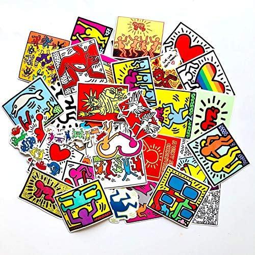 BLOUR Keith Haring Aufkleber f/ür Aufkleber Snowboard Laptop Gep/äck Auto K/ühlschrank Auto-Styling Aufkleber Pegatina 50 St/ück//Los