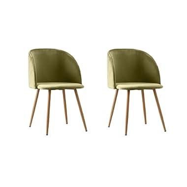 2 Piece Mid Century Modern Velvet Armless Minimalist Accent Dinning Chair (Green)