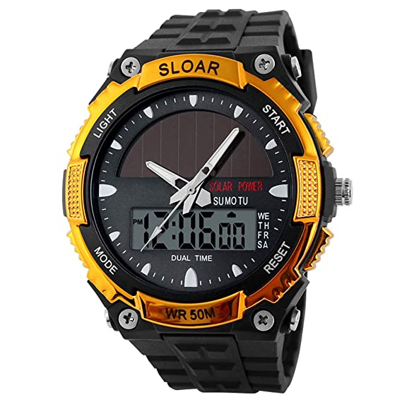 Amazon.com: Leaftree - Fashion Mens Watch Electronic Watches Man Solar Power: Cell Phones & Accessories