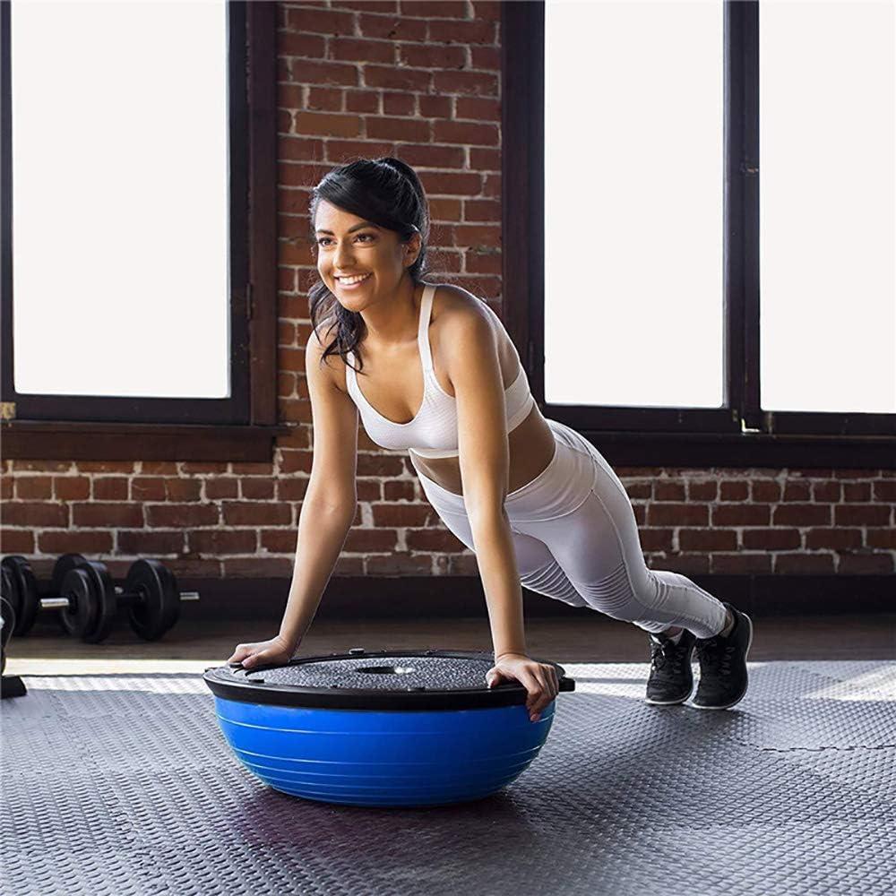 METTE 23in Equilibrio Media Bola Trainer Yoga Estabilidad Bola del Ejercicio con Vendas de la Resistencia y de la Bomba de Gimnasio en casa de formaci/ón b/ásica de AB Fuerza Entrenamientos de Fitness