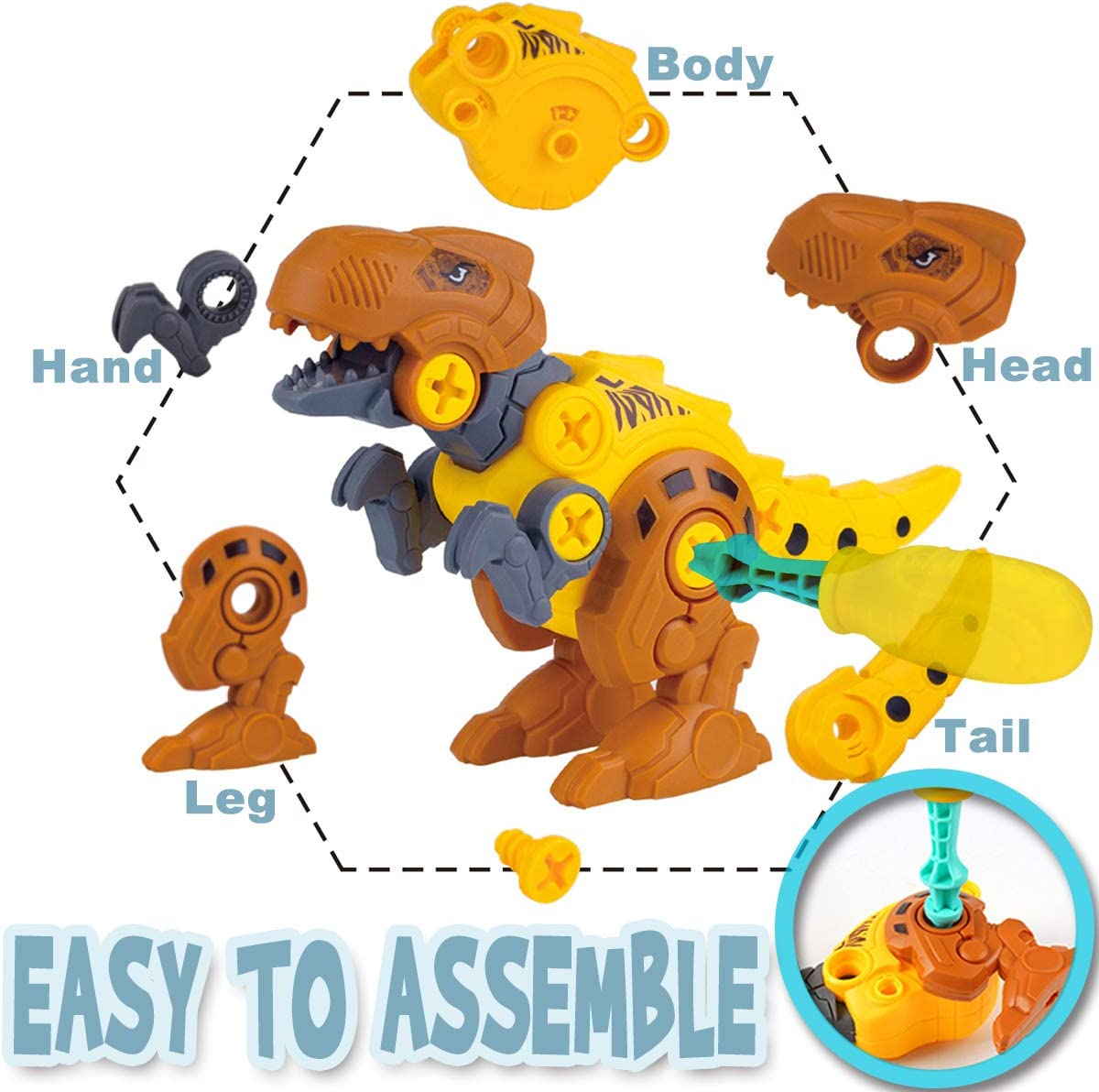 2 Pack Dino Set with Tools TOPBRY Take Apart Dinosaur Toys for Kids STEM Learning Play Kit for Age 3 4 5 6 7 Year Old Boys Girls