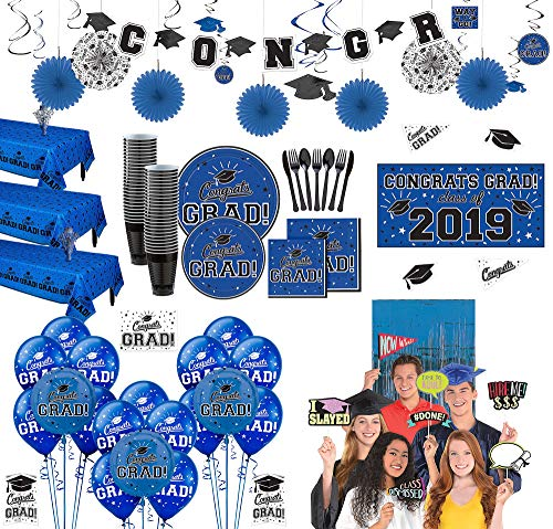 (Party City Ultimate Blue Congrats Grad 2019 Graduation Party Supplies for 100 Guests with Banner, Tableware, and)