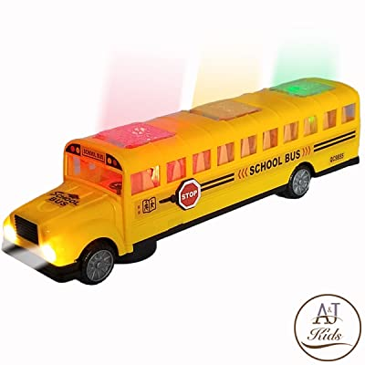 ANJ Kids Toys - Battery Operated Bump & Go Playtime Long-Nose Yellow School Bus | Beautiful Flashing Lights Including Headlights | Playing Music and Horn Sounds | Stop Sign Swings Open!! (Age 3+): Toys & Games