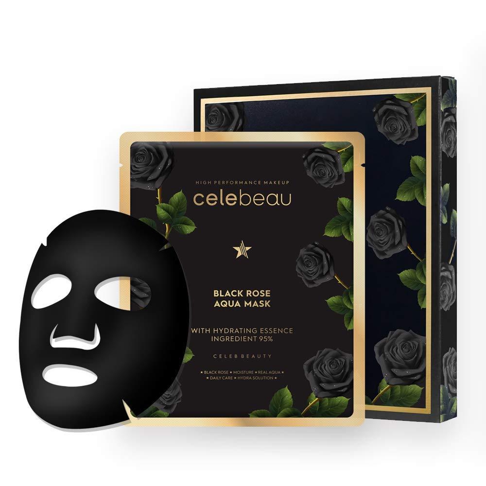 CELEBEAU - Black Rose Aqua Hydrating Korean Face Sheet Mask - 5 Sheet Pack - Best Gift Idea for Mom, Girlfriend, Wife, Her