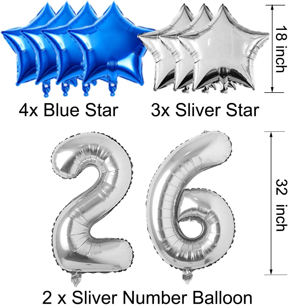 26th Birthday Decorations for Men Women Boy Girl,Blue Black Birthday Party Supplies with 26 Silver Number Balloon Happy Birthday Banner for 26th and 62nd Birthday Party