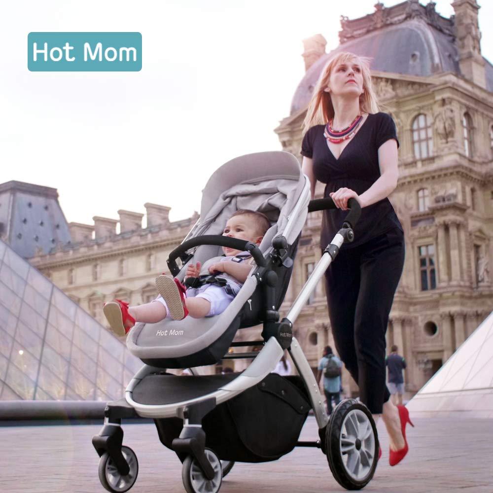 Chariot poussette Hot Mom 2018 combine avec nacelle et si/ège enfant 889 gris