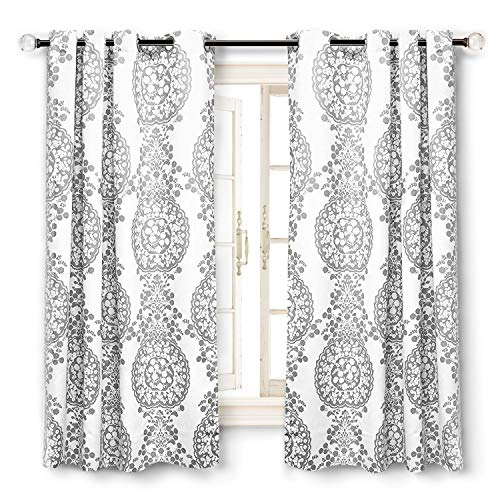 """DriftAway Samantha Thermal/Room Darkening Grommet Unlined Window Curtains, Floral/Damask Medallion pattern, Set of Two Panels, each (52""""x63"""",Gray)"""
