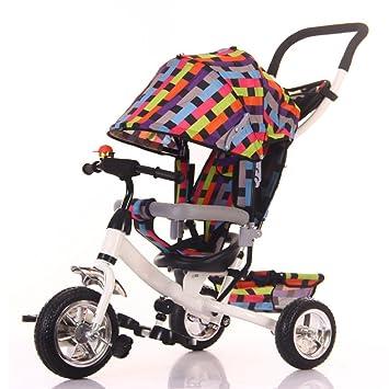 LZTET Sillas De Paseo Multifunción De Tres Ruedas Carro De Bebé Plegable Bebé Pedal Cochecito 1-6 Años De Edad Niño Bicicleta Cochecito De Bebé,B: ...