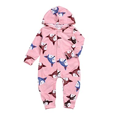 391e2bda9dea Amazon.com  Hatop Newborn Infant Baby Girls Boys Cartoon Fox Hooded Print Jumpsuit  Romper Clothes  Clothing