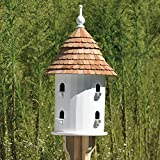 28'' Handcrafted Fully Functional Round White Lazy Hill OUtdoor Garden Bird House