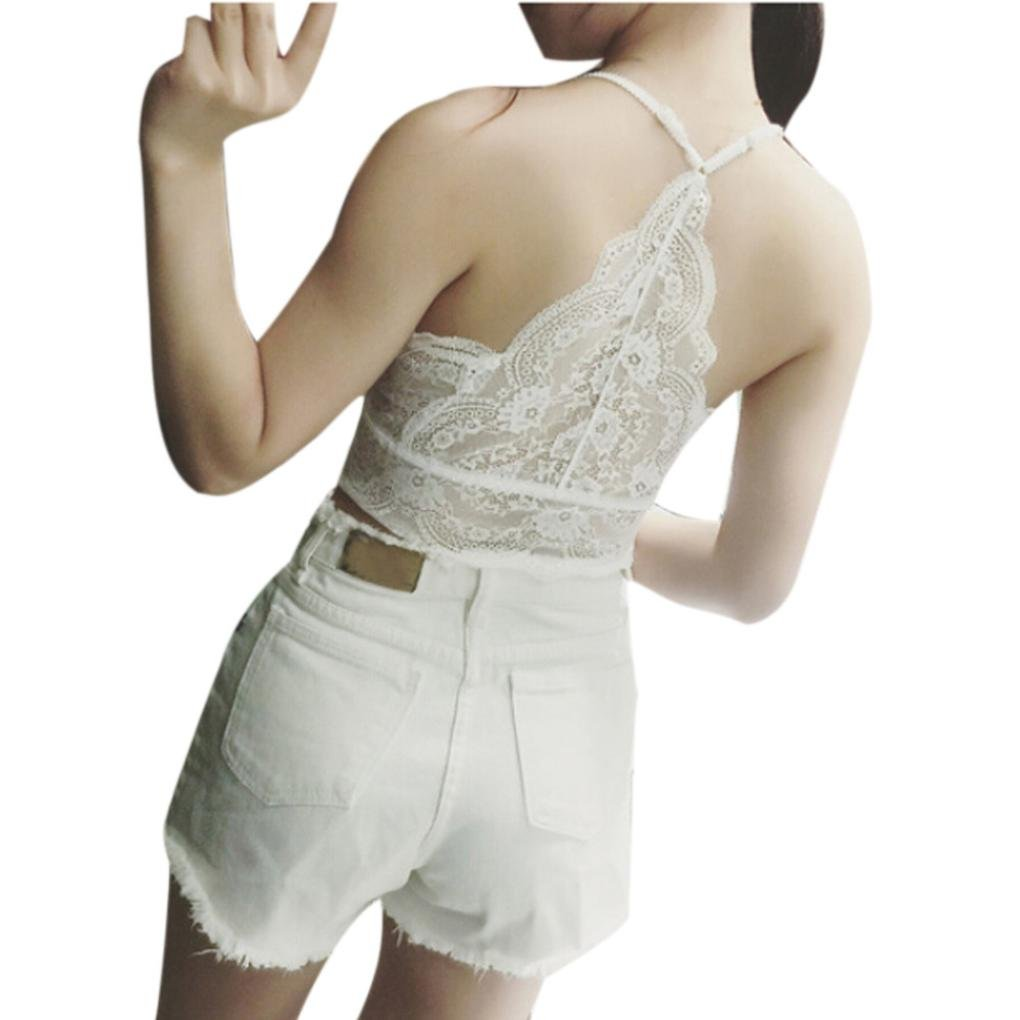 CSSD Women {Lace Floral} {V-Neck} {Strap Wrapped Chest} {Sexy Vest} {Solid Color} {Racy Tank Underwear} (Free Size, White)