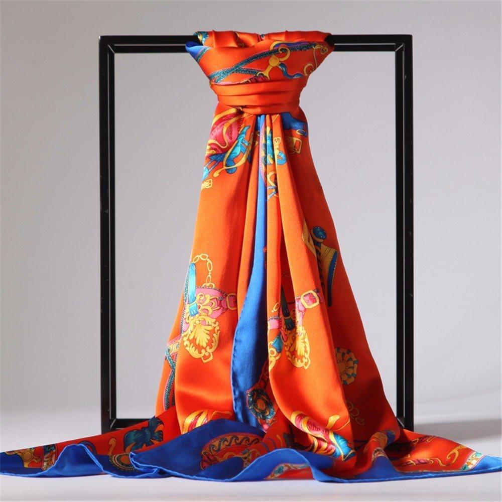 DIDIDD Bufanda-bufanda de seda de seda del verano señoras de seda larga bufanda de satén primavera e invierno aire acondicionado habitación chal,A