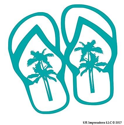 f8cac8e00e Amazon.com  UR Impressions Teal Palm Tree Flip Flops Sandals Decal ...