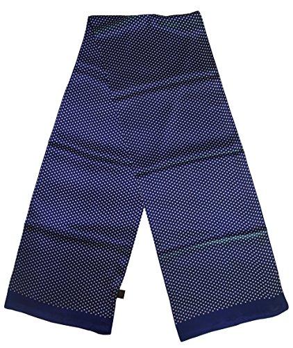 Ellettee, 63'' x 11'' Man's 100 Pure silk scarf wrap Accessory gift (BlueWhite Polkadot) by Ellettee (Image #1)