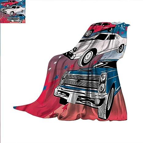Amazon Com Cars Digital Printing Blanket Nostalgic American Muscle