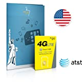 Prepaid Sim-Karte USA AT&T Netz - 3GB 4G LTE (2GB bei Aktivierung nach 30.09.2017) - Unbegrenzte internationale Anrufe und Sms - 30 Tage