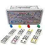Domino Mexicano Completo com Trem e Eixo 91 peças Hoyle Games
