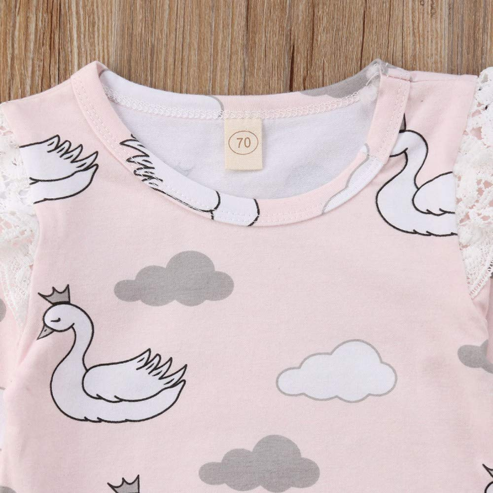 KUKEONON Baby Girls Swan Print Romper Ruffle Lace Long Sleeve Triangle Bodysuit