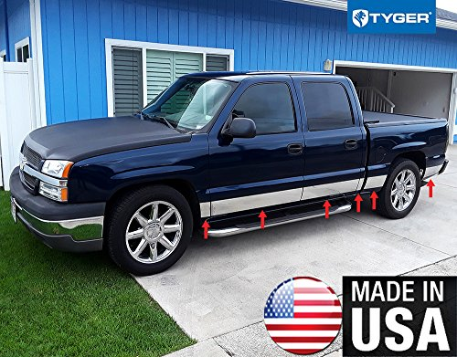 Made In USA! Works With 01-06 Silverado Crew Cab Short Bed W/O Fender Flare Rocker Panel Chrome Stainless Steel Body Side Moulding Molding Trim Cover 6