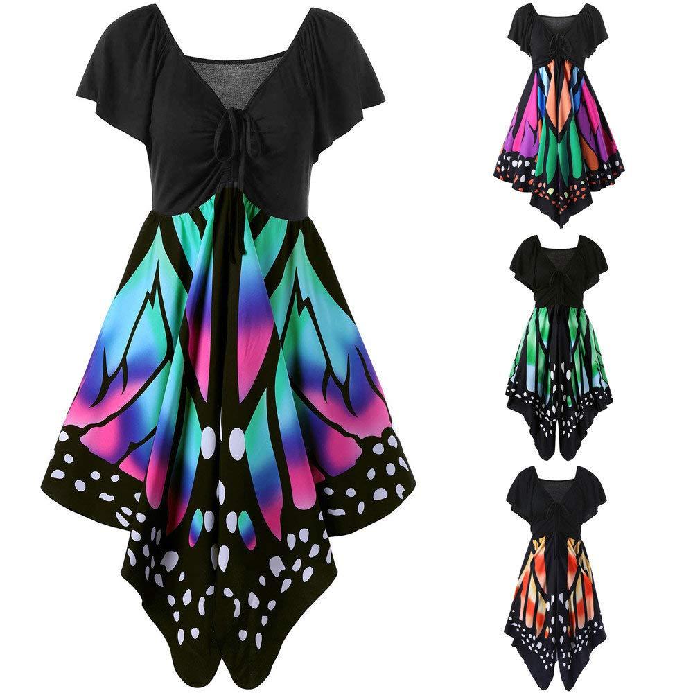 Vestido asimétrico de manga corta con estampado de mariposas y ...