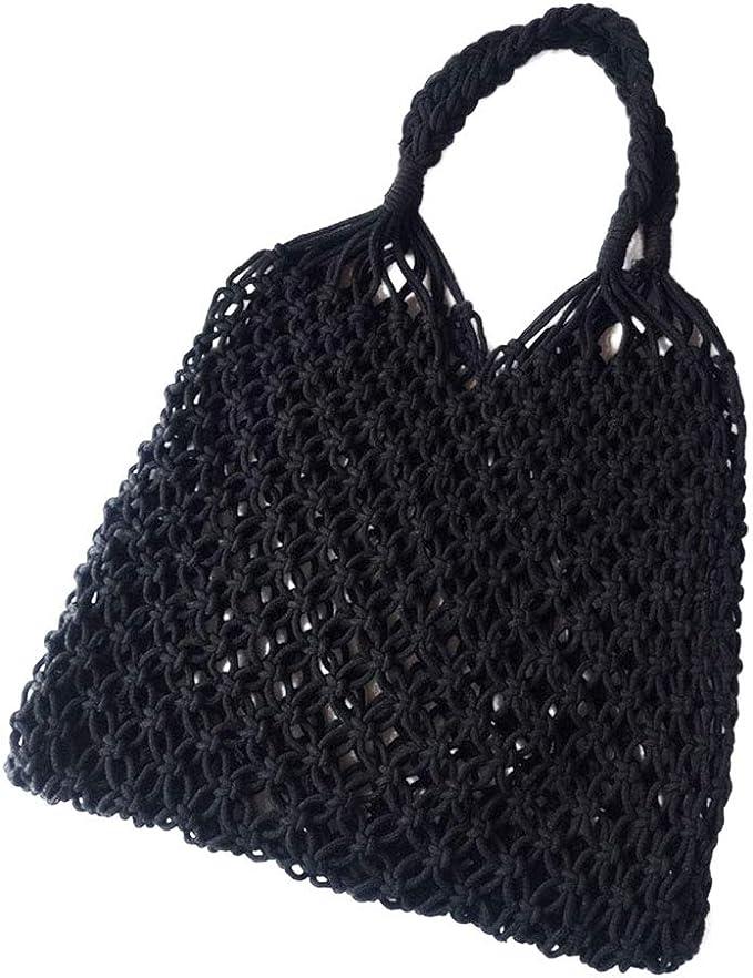 FENICAL Bolsa de playa de malla Tejido de algodón Hollow out Bolsa Bolsa de hombro sin forro (Negro): Amazon.es: Ropa y accesorios