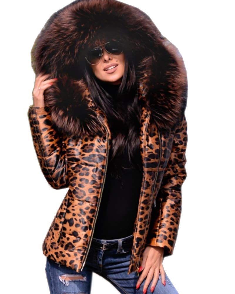 Roiii (TM) Women's Winter Fashion Leopard Down Parka Faux Fur Hood Lightweight Slim Jacket Coat (3X-Large, Leopard)