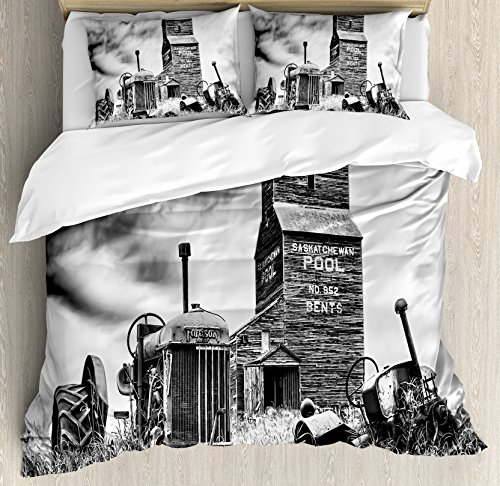 Ambesonne Industrial Decor Duvet Cover Set, Old 60s Abandoned Tractor in the Farm in Central Canada Nostalgic Machinery Elements Image, 3 Piece Bedding Set with Pillow Shams, Queen/Full, (Abandoned Farm)