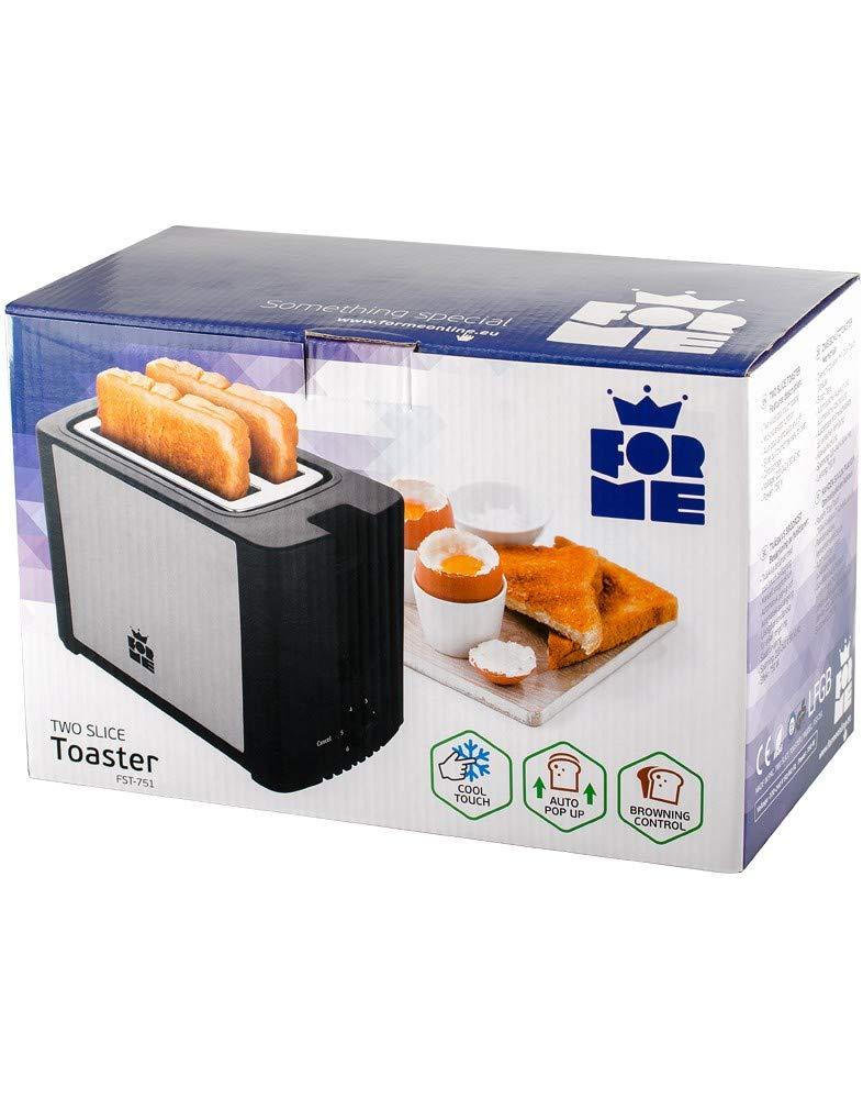 ForMe Tostapane a 2 fette con 4 livelli di doratura e spegnimento automatico funzione di rottura e Raccoglibriciole Smontabile 750W