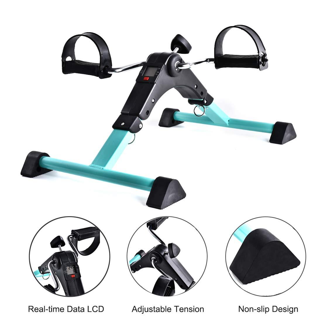 Tangici Portable Pedal Exerciser-Mini Stationary Bike-Arm & Leg Exercise Peddler-Fitness Equipment for Seniors and Elderly