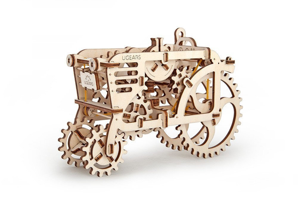UGears Tractor Modular Mechanical Model - 3D Wooden Puzzle for Self-Assembly Without Glue - Brainteaser for Kids, Teens and Adults UG70003